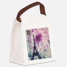 floral paris eiffel tower art Canvas Lunch Bag