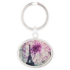 floral paris eiffel tower art Keychains