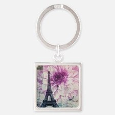 floral paris eiffel tower art Keychains