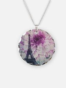 floral paris eiffel tower art Necklace