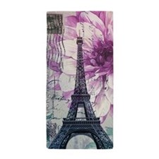 floral paris eiffel tower art Beach Towel