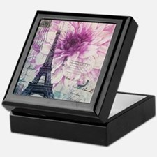 floral paris eiffel tower art Keepsake Box
