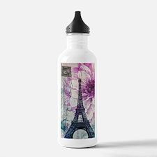 floral paris eiffel tower art Water Bottle