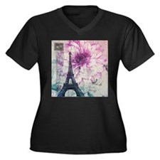 floral paris eiffel tower art Plus Size T-Shirt