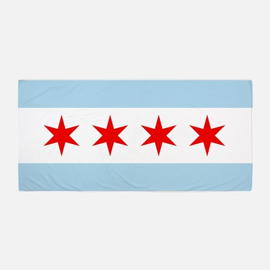 flag of chicago beach towel