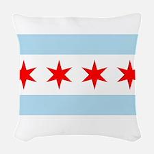 Flag of Chicago Woven Throw Pillow