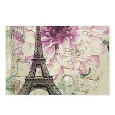 postmark floral paris eiffel tower art Postcards (
