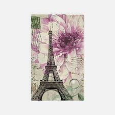 postmark floral paris eiffel tower art 3'x5' Area