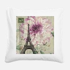 postmark floral paris eiffel tower art Square Canv