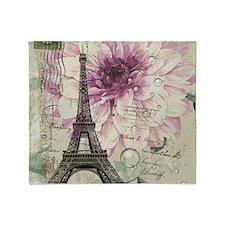 postmark floral paris eiffel tower art Throw Blank