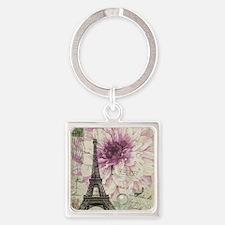 postmark floral paris eiffel tower art Keychains