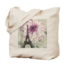 postmark floral paris eiffel tower art Tote Bag