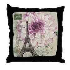 postmark floral paris eiffel tower art Throw Pillo