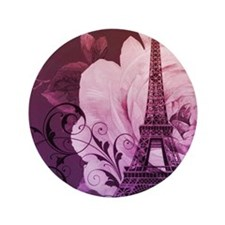 "purple floral paris eiffel tower art 3.5"" Button"