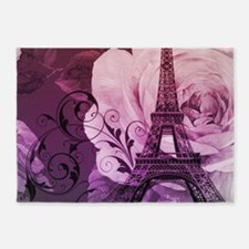 purple floral paris eiffel tower art 5'x7'Area Rug