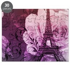 purple floral paris eiffel tower art Puzzle