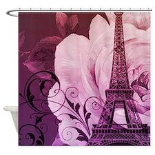 purple floral paris eiffel tower art Shower Curtai