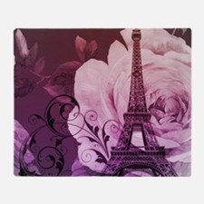 purple floral paris eiffel tower art Throw Blanket