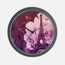 purple floral paris eiffel tower art Wall Clock