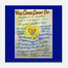 Blue & Gold Heart Cancer Tile Coaster