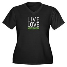 Live Love Ne Women's Plus Size V-Neck Dark T-Shirt