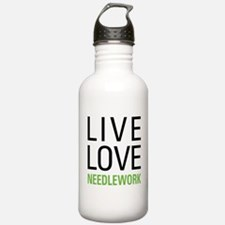 Live Love Needlework Water Bottle