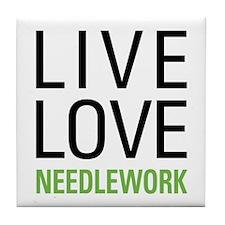 Live Love Needlework Tile Coaster