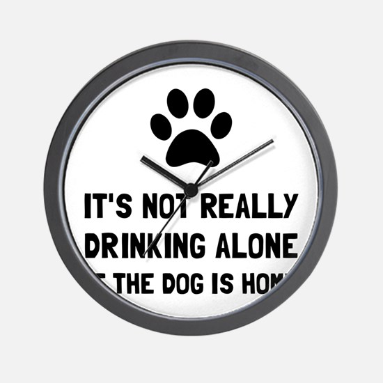 Drinking Alone Dog Wall Clock