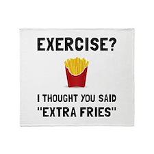 Exercise Extra Fries Throw Blanket