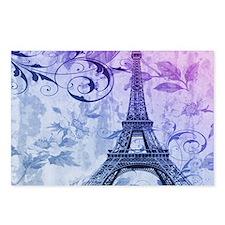purple floral paris eiffel tower art Postcards (Pa