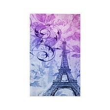purple floral paris eiffel tower art 3'x5' Area Ru