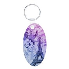 purple floral paris eiffel tower art Keychains