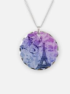 purple floral paris eiffel tower art Necklace