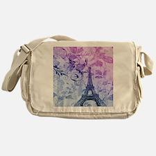 purple floral paris eiffel tower art Messenger Bag