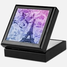 purple floral paris eiffel tower art Keepsake Box