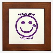 Peace Love And Wine Framed Tile