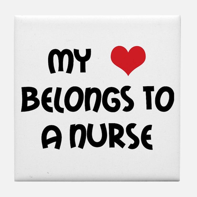 I Heart Nurses Tile Coaster