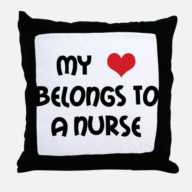 I Heart Nurses Throw Pillow