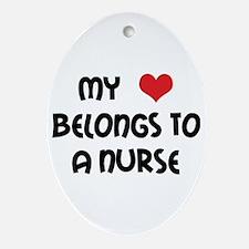 I Heart Nurses Oval Ornament