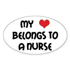 I Heart Nurses Oval Decal
