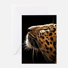 Amur Leopard Portrait Greeting Cards