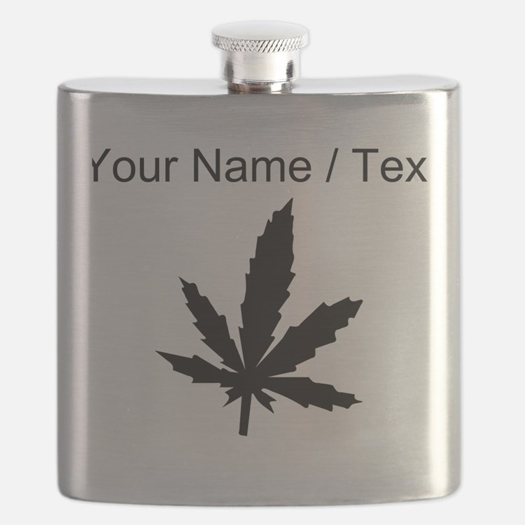 Custom Black Weed Leaf Flask