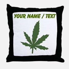Custom Green Weed Leaf Throw Pillow