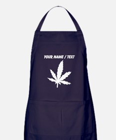 Custom White Weed Leaf Apron (dark)