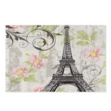 modern floral paris eiffel tower art Postcards (Pa