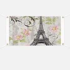 modern floral paris eiffel tower art Banner
