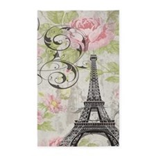 modern floral paris eiffel tower art 3'x5' Area Ru