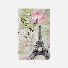 modern floral paris eiffel tower art 3'x5' Area Ru