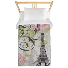 modern floral paris eiffel tower art Twin Duvet
