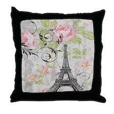 modern floral paris eiffel tower art Throw Pillow